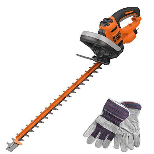 Black+Decker behts501gg-qs corta-setos con cable ergonomía Guardia translúcido óptimo y equilibrio incluye guantes, 600W, Negro, 60cm/25mm