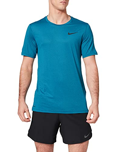 NIKE Top SS Hpr Dry Camiseta, Obsidian/Green Abyss/Htr/Black, M para Hombre