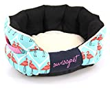 SwissPet Hundebett/Katzenbett Flamingo | Bequemer Schlafplatz für Hunde & Katzen, mit Flamingo Muster (S)