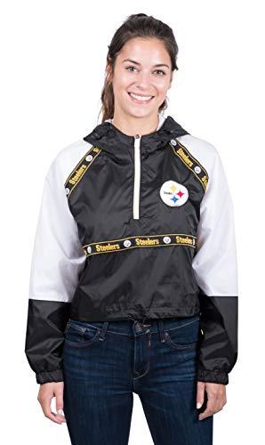 Ultra Game Pittsburgh Steelers Women's Quarter Zip Hoodie Windbreaker Jacket (Available in Crop Top & Regular Length), Crop Top, Small
