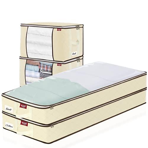 Bolsa de almacenamiento de gran capacidad, 4 bolsas de almacenamiento para debajo de la cama con asa reforzada para ropa, edredones, mantas, ropa de cama de 100 x 45 x 15 cm y 60 x 30 x 45 cm, beige