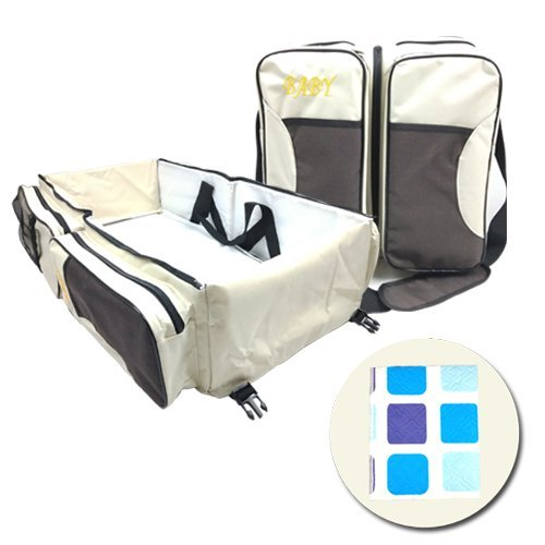 3 in 1 Portable Baby Diaper Bag & Baby Travel Bag, Infant Travel Bassinet, Multi-function Diaper Bag, Travel Crib/Waterproof Changing Station + FREE Changing Mat(Beige).