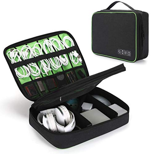 VOGEK Elektronik Tasche, Doppelte Schichte Elektronik Organizer Reise für Kabel, Ladegerät, Ipad, Ipad Air, Tablet bis zu 10.5 Zoll, Adapter, Maus, SD Karten und USB Stricks