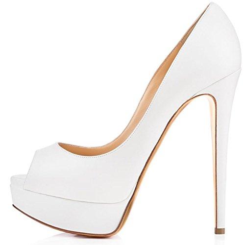 ELASHE – Zapatos para Mujer – Tacón de Aguja -15CM Peep Toe – 3CM Plataforma Tacones Mujer Fiestas Oficina