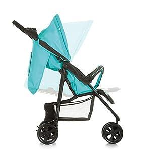 Hauck Citi Neo II Dreirad Buggy bis 25 kg mit Liegeposition ab Geburt, klein zusammenfaltbar, Einhand-Faltmechanismus, 3 Räder, ultraleicht - nur 7,5 kg, Getränkehalter, schwarz/türkis