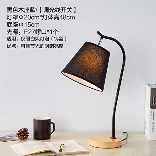 YU-K Tissu simple lampes couvre salon chambre à coucher moderne quarts eye réglable lampe de chevet,15 * 48cm, socle en bois noir, l'interrupteur d'éclairage