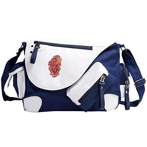 Boy Casual Shoulder Bag Gryffindor Retro Pattern School Bag Girl Fashion Travel Messenger Bag 35x26x11cm Blue