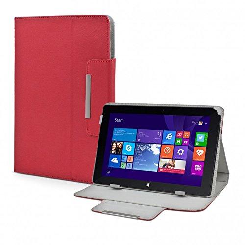 eFabrik Tasche für TrekStor Volks-Tablet SurfTab wintron 10.1 3G Volks-Tablet 3 Hülle Zubehör Schutzhülle mit Aufsteller Leder-Optik rot