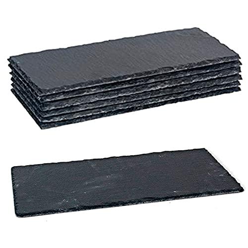 Pack de 6 tablas pizarra rectangulares 30 x 13 cm. Platos llanos de piedra natural, bandejas para servir alimentos, quesos, aperitivos