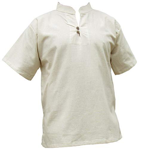 Panasiam® - camisas y pantalones Naturales, 100% algodón no tratado, tallas de la S a la L (es necesario que compres una talla más grande de lo habitual) mit 2er Knopfleiste XL