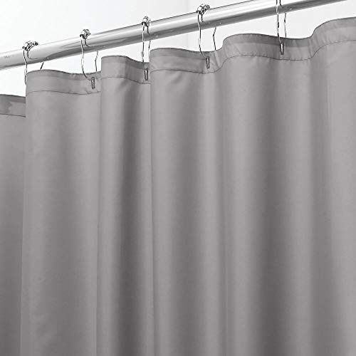 """mDesign Extra Wide Water Repellent, Heavy Duty Flat Weave Fabric Shower Curtain, Liner - Weighted Bottom Hem - for Shower and Bathtub - 72"""" x 108"""" - Gray"""