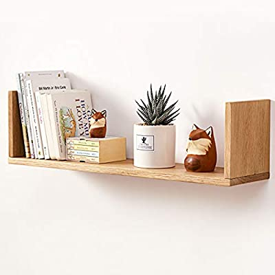 """HOMWOO Floating Shelf, FAS Grade Oak Solid Wood Floating Bookshelf U Shape Floating Wall Shelves for Bedroom,Living Room,Bathroom,Office,Kitchen 1 Pcs-(Natural,16inches) - ▲FAS GRADE OAK WOOD SHELF - The U-Shaped floating Shelves are made of 100% FAS Grade Oak Solid Wood that finished with environmentally friendly wax oil.Totally different from other wall shelf that made of synthetic wood such as medium-density fiberboard (MDF) or cheap solid wood!!Our mission is to bring the gift of nature into your home~ ▲DURABLE FLOATING WALL SHELVES - The shelves for wall are waterproof,moisture-proof,anti-corrosion,formaldehyde-free,heat-resistant.After been strictly controlled the water content,this Oak floating shelf is not easy to deform.it is your longer companion,at least for ten years---the durability is really high cost performance! ▲ENJOY YOUR CREATIVITY - We provide two classic and fashionable colors-natural and walnut,which are different from ordinary black or white floating bookshelf,and also provide two sizes-small(15.7""""*5.9""""*6.49"""") and big(23.6""""*5.9""""*6.49"""").You can freely decorate your any empty wall.These wall mounted shelves combine practicality and beauty, also add rusticity to your home. - wall-shelves, living-room-furniture, living-room - 41L61L0XVOL. SS400  -"""