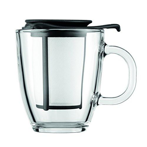 Bodum–Caffettiera–Caffettiera a pistone tazze, Vetro, Nero , 35 cl