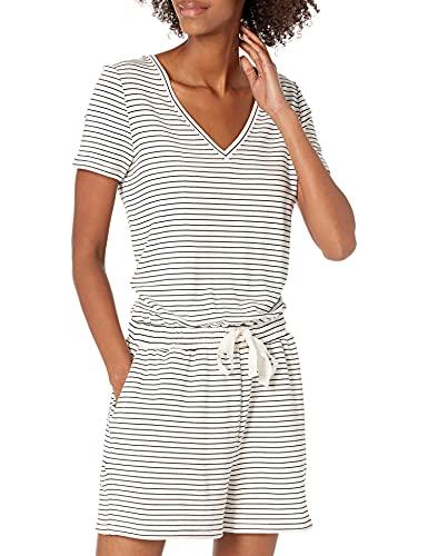 Amazon Brand - Daily Ritual Women's Supersoft Terry Short-Sleeve V-Neck Romper, White/Black Stripe,Large