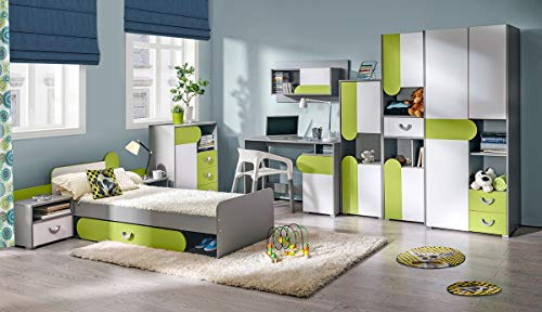 Jugendzimmer Komplett - Set B Klemens, 9-teilig, Farbe: Grün/Weiß/Grau