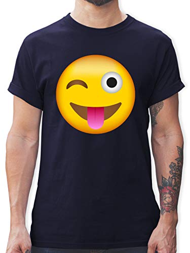 Comic Shirts - Emoticon herausgestreckte Zunge - XXL - Navy Blau - Tshirt Zunge - L190 - Tshirt Herren und Männer T-Shirts