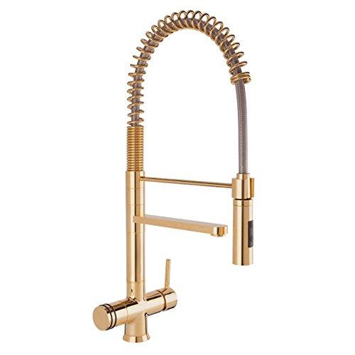 Designer molla a spirale di rubinetto a tre vie Luxury oro, Gold Look 56 cm per freddo, caldo e acqua filtrata. Doccetta orientabile di 360°. MADE IN ITALY