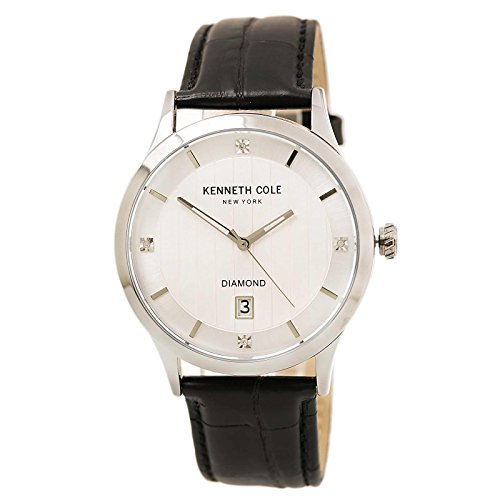 Kenneth Cole 10030661 Men's Diamond Silver Dial Black Croco Leather Strap Watch