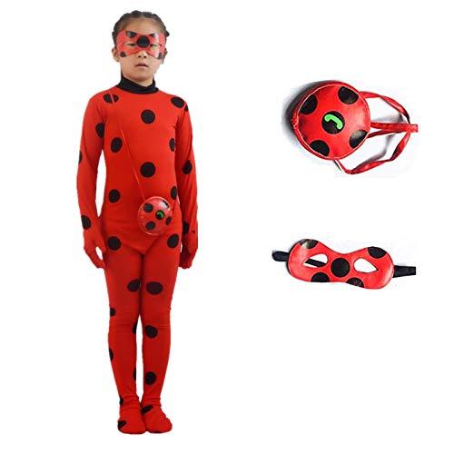X-C-Q Lady Bug Costume Girls Marinette Cosplay Jumpsuit (Kid S)