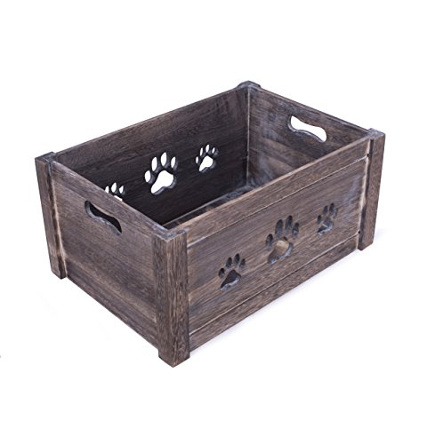 BASIC HOUSE Paw Shaped Cutout Dog Toys Chest Gift Hampers Storage Collection Box Wooden Crates Gift Hampers (Small)