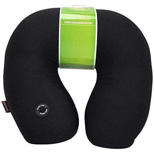 Travesseiro de Pescoço de Viagem Anatômico Micro Pérola Preto Sestini