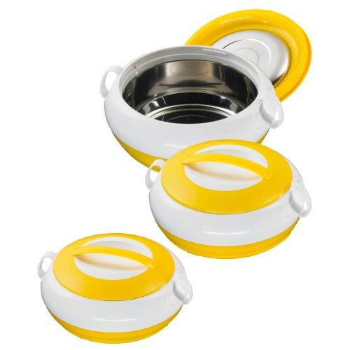 King Noble Yellow Thermobehälter aus 3 Schüsseln mit Deckeln ca. 1000, 1300, 2300 ml weiß/gelb