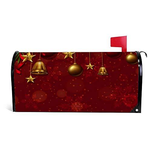 wendana Achtergrond Sjabloon Met Kerst Ornamenten Mailbox Cover Magnetische Vinyl Thuis Tuin Decor Mailbox Wrap Post Letter Box Cover 18