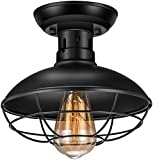 Vintage Rustic Semi Flush Mount Ceiling Light,Industrial Ceiling Light E26 Base, Farmhouse Antique Caged Style Ceiling Lamp Fixture for Hallway Stairway Foyer Kitchen Garage Porch Entryway