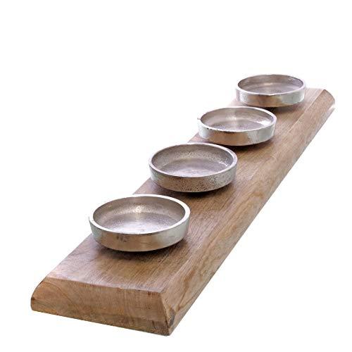 Spetebo XXL Mango Advents Kerzenhalter - 62,5 cm - Massiv Holz Kerzenständer ohne Docht mit Aluminium Haltern