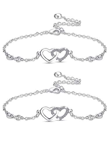 Yaomiao 2 Pieces Silvery Infinity Heart Bracelets Endless Love Symbol Bracelets Adjustable Bracelet Jewelry for Women Girls