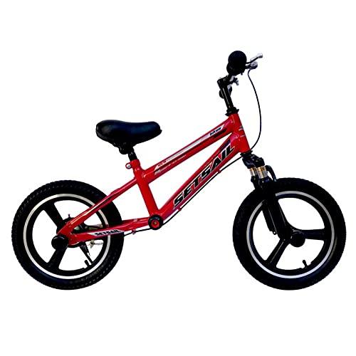 Bicicletas sin Pedales Bicicleta de Equilibrio Deportiva con Ruedas de Goma de 16 Pulgadas, Niños Grandes (edad 9 10 11 12 13 14 15), Sin Bicicleta de Pedales para Niño y Niña, Freno ( Color : Red )