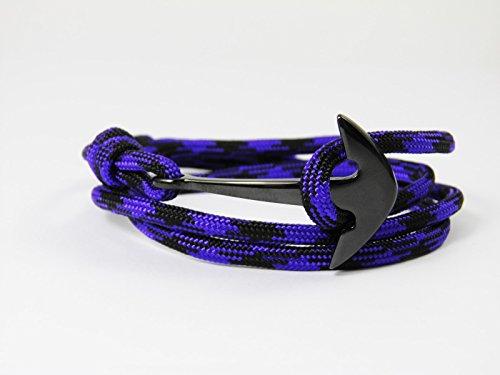 HanseCharms Bracelet de surfer en acier inoxydable Motif ancre Unisexe Blueberry, Ancre dorée., L = 20 - 25 cm