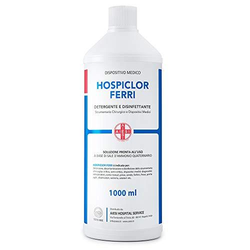 AIESI® Desinfectante listo para usar para instrumentos y dispositivos médicos a base de cloruro de benzalconio botella de 1 litro HOSPICLOR FERRI