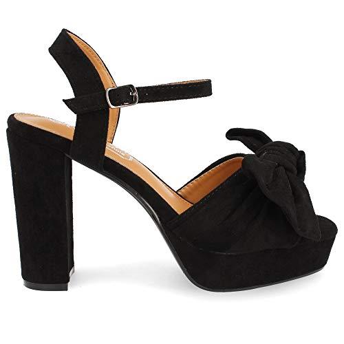 35074-Damen Plateau Sandalen Hohe Absatz High Heels Plattform und Fesselriemen Mode Schuhe Mit Kravatte Fruhling Sommer 2019. Size 39 Negro