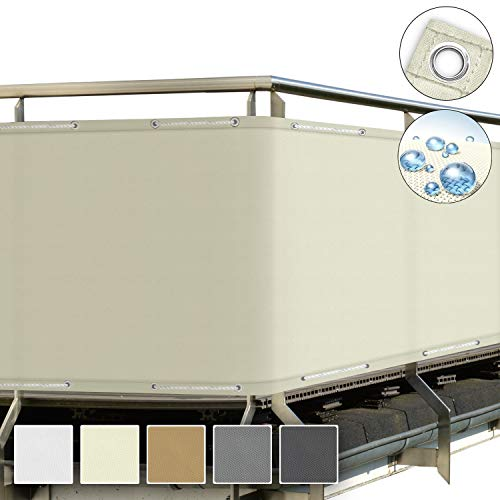 NOUVOT Tenda da Sole Laterale Avvolgibile Retrattile Antivento 140 x 300 cm Protezione Solare Protezione Privacy Grigio Esterno e Terrazzo per Balcone