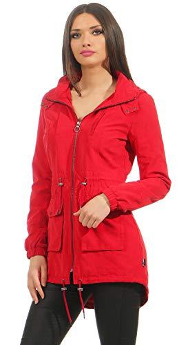 ONLY Starry Long Spring Parka Damen Übergangsjacke, Größe:S, Farbe:Rot (Jester Red)