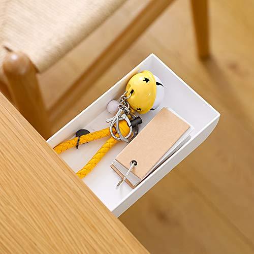 TuTuShop Under Table Drawer, Hidden Self-Adhesive Pencil Tray Drawer,Under Desk Holder Storage Box, Stationery Pencil Storage Drawer Organizer for Office/School/Kitchen (1 Pack White)