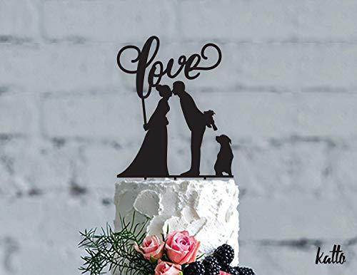 Love Cake Topper Hund Cake Topper Hochzeit Cake Topper Romantic Cake Topper Unique Cake Topper Pet Silhouette Jäten Kuchen Topper Hunde