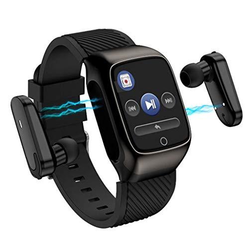 APCHY Reloj Inteligente Smartwatch,Rastreadores De Actividades De S300 Bluetooth Auriculares,Pulsera Deportiva Inteligente,Podómetro Deportivo De Dos En Uno, Ritmo Cardíaco, Auriculares De Reloj