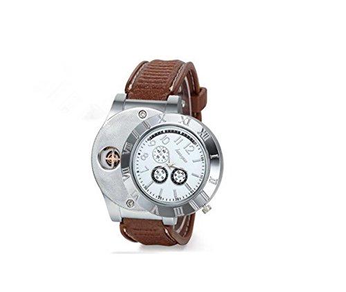 Colofan C07 Horloge, kwarts, sigarettenaansteker, elektronisch, oplaadbaar, windbestendig, sigarettenaansteker, zilverkleurig, lederen armband, geel)