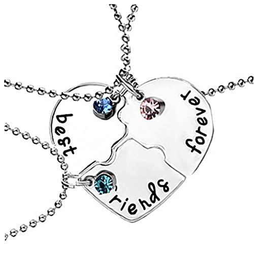 3PCS / SET mejor amigo para siempre collar de la forma del kit del Rhinestone Bff Collar Corazón colgante Amistad Puzzle de costura collar de la joyería regalo para los amigos