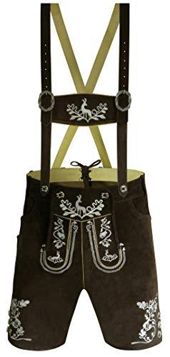 Oktoberfest Lederhosen for Men Shorts – German Costume Bavarian Traditional Clothing Real Leather (US 32 / EU 48, Dark Brown/Cream Embroidery)