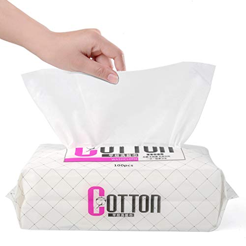 Extra Thicken Stronger Dry Facial Cotton Tissues, Ultra Soft Lint Free Wipes Cleansing Towel, 100% Pure Cotton, Wet&Dry Makeup Remover Wipes, Remove Facial Grease, Best for Sensitive Skin