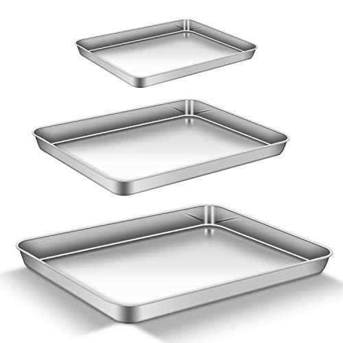 AEMIAO Acier Inoxydable Plaque à Pâtisserie Professionnel Plaque de Cuisson pour la Maison Cuisine Barbecue, Antiadhésive Sain Super Miroir Finition Lave-Vaisselle, 40 x 30 x 2.5 cm, Lot de 3