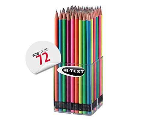 Hi-Text 065 grafisch fluo potloden 72 kleurpotloden rond gelakt neonkleuren met HB vulling