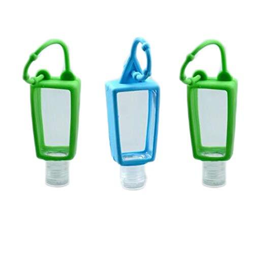 Enjoyfeel Kunststoffflaschen mit Clip und 64 Etiketten und 1 Handtuch, nachfüllbar, Reise-Desinfektionsmittel, transparent, leere Flaschen mit Haken (10 Stück)