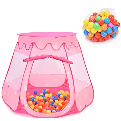 Costzon Princess Pop Up Tent w/ 100 Balls Included, Foldable Portable Children Play Tent with Carrying Bag, Indoor Outdoor Use, Playhouse Ball Pit for Toddlers Girls Boys Gift