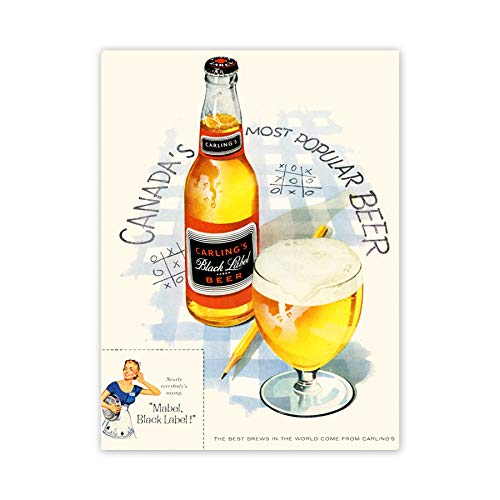 Price comparison product image Advert Drink Alcohol Beer Bottle Glass Tic Tac Toe Canada Art Poster Print