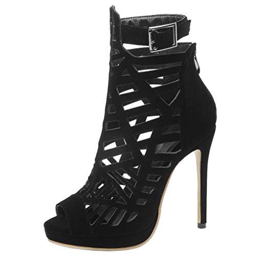 Lydee Mujer Moda Peep Toe Gladiator Sandalias Tacones de Aguja Bootie Zapatos de verano Plataforma Noche Footwear Black Tamaño 47 (Ropa)