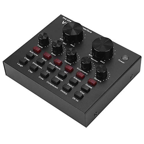 PUSOKEI Tarjeta de Sonido, Tarjeta de Cambio de Voz de transmisión en Vivo de computadora Bluetooth con 7 métodos de conexión / 112 Tipos de electroacústica, Negro